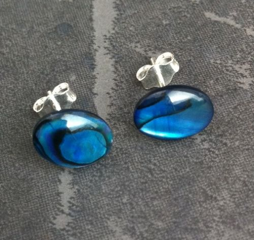 Paua Stud Earrings PE04 8x10mm BLUE OVAL